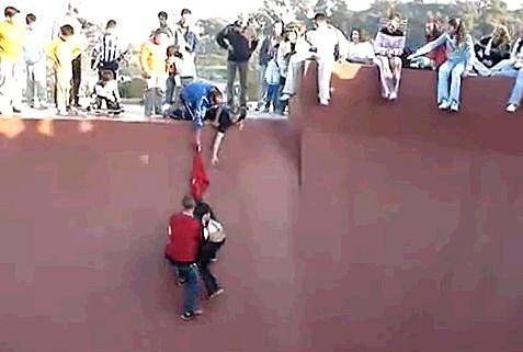 Fat Kid Stuck In Skate Bowl