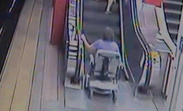 in motorized wheel chair versus the escalators