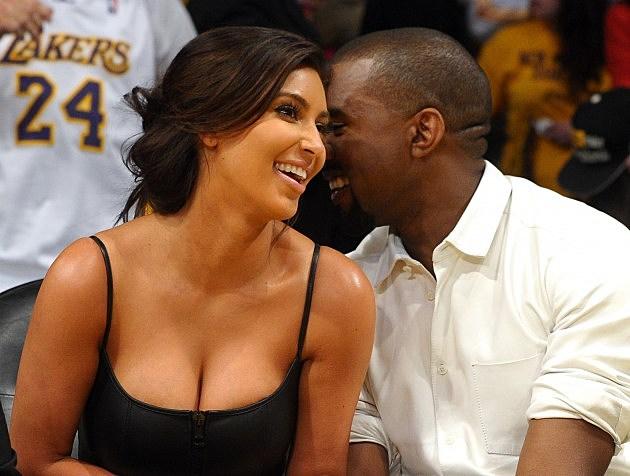Kanye West And Kim Kardashian And Her Cleavage
