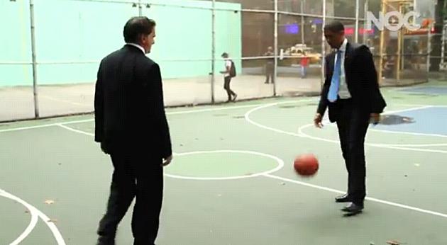 Barack Obama vs. Romney in a game of PIG