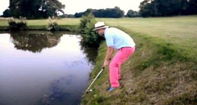 Drunk Golfer Takes A Dive
