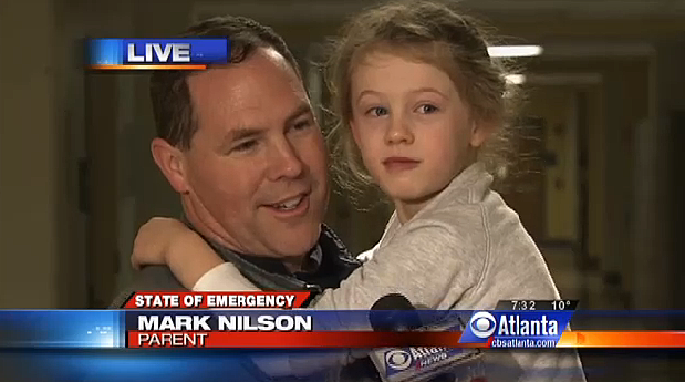 Atlanta Dad Walks Six Miles to Hang out With Stranded Daughter at School