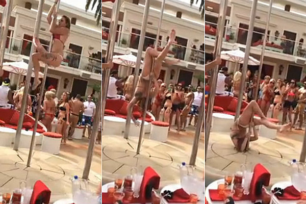 Bikini Girl Falls Off The Pole At A Vegas Pool Party [Video]