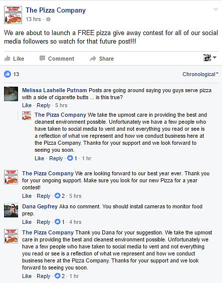 The Pizza Company via Facebook